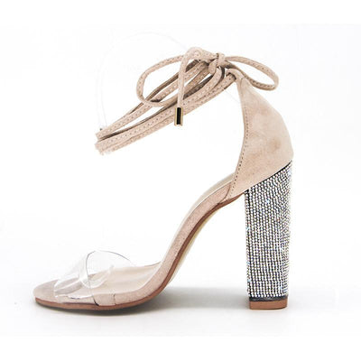 Outlet Appeal Ankle Strap Super High Square Heel Rhinestone Sandals