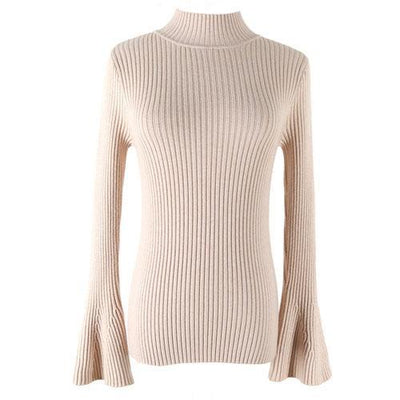 Outlet Appeal Apricot Pullover Sweater Women Turtleneck Knitted Tops Female Knitwear Flare Sleeve Pull Jersey