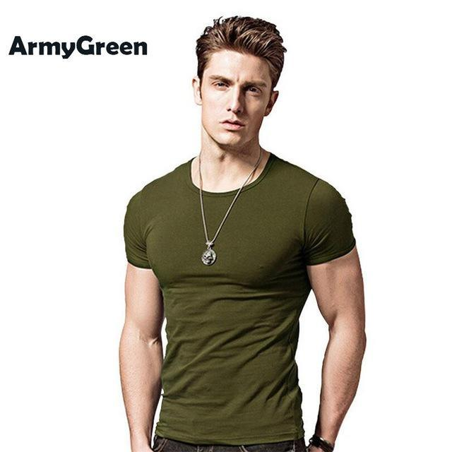 7ab37c623903 Outlet Appeal Army green / Asian XXXL Covrlge Men T-shirts Solid Color Slim  Fit