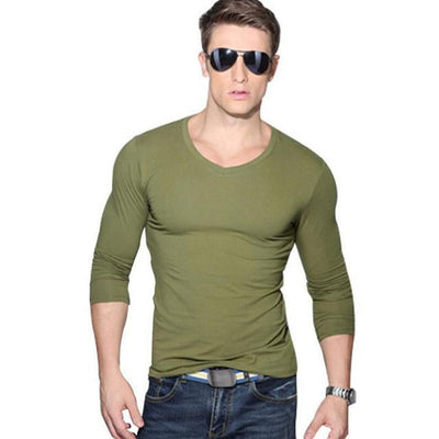 Outlet Appeal Army green / Asian XXXL Solid Long Sleeve Slim V-neck T-shirt
