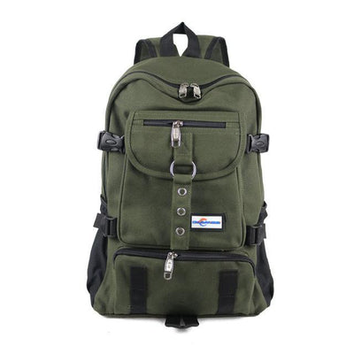 Outlet Appeal Army Green Durable Canvas Multi-Pocket Multi-Function Backpack