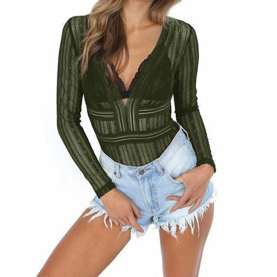 Outlet Appeal Army Green / L Aproms Deep V neck Lace Mesh Crochet Bodysuit Women Slim Fit Romper Jumpsuit Sexy High Street Bodysuits Tops for Women Clothing