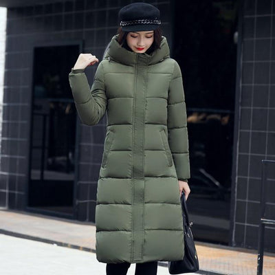 Outlet Appeal ARMY GREEN / M High quality 2018 stand collar coat women winter long hooded with a hat warm thicken womens jacket solid padded female parka