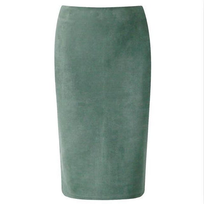 Outlet Appeal Army Green / M Women Suede Midi Pencil Skirts Causal High Waist Sexy Stretch Ladies Office Work Wear