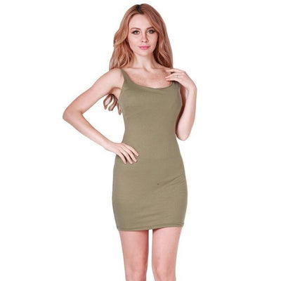 Outlet Appeal army green / S Basic Sleeveless Slim Backless Dress - 7 Colors - XS-5XL