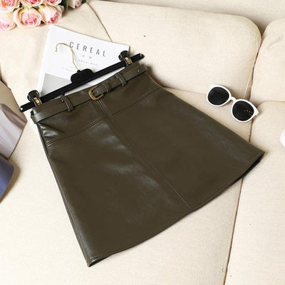 Outlet Appeal Army Green / S / China Spring Autumn PU Skirt Solid Faux Leather Mini Skirts Elegant Casual Short Slim Skirt with belt