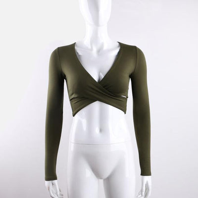 Outlet Appeal army green / S Cross V-neck Slim Long Sleeve Crop Top T-shirt - 5 Colors - Small-L