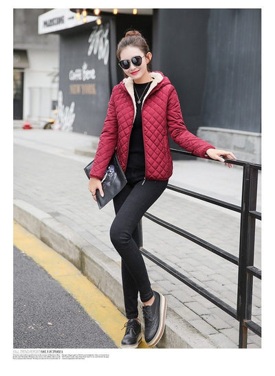Outlet Appeal Autumn 2018 New Parkas basic jackets Female Women Winter plus velvet lamb hooded Coats Cotton Winter Jacket Womens Outwear coat