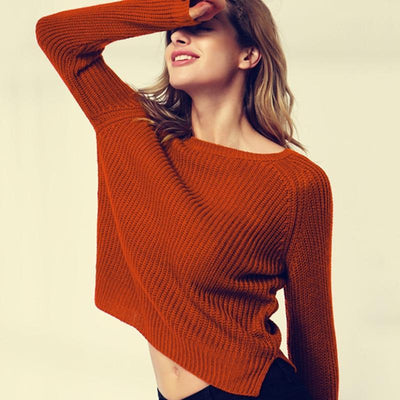 Outlet Appeal Autumn winter women sweaters and pullovers korean style long sleeve casual crop sweater slim solid knitted jumpers sweter mujer