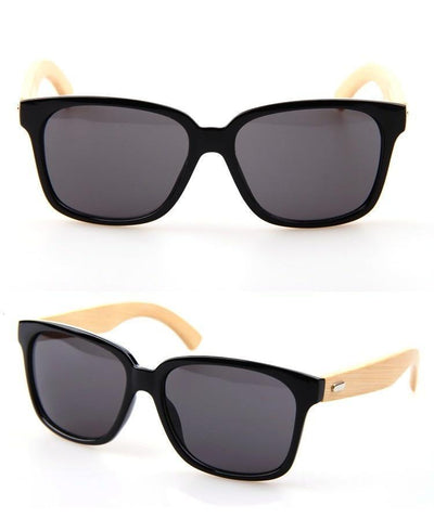 Outlet Appeal Bamboo Wood Sunglasses Brown / Black / Leopard Print