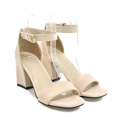Outlet Appeal Beige / 4 Ankle Wrap Chunky High Heel Shoes Sandals Black Beige Red