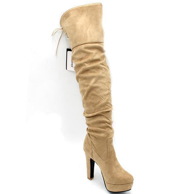 Outlet Appeal Beige / 4 ENMAYER Women Boots Over-the-Knee boots for women Flock Tassel ladies Long Boots Round Toe