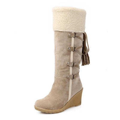 Outlet Appeal beige / 4 Plush Snow Boots Women Wedges Knee-high Slip-resistant Boots ThermalCotton-padded Winter