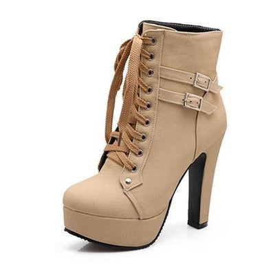 Outlet Appeal Beige / 5 Faux Leather or Suede Lace Up Double Buckle Platform High Heel Ankle Boots