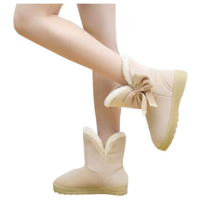 Outlet Appeal beige / 5 HEE GRAND Women Snow Boots Solid Bowtie Slip-On Soft Round Toe Flat with Winter Shoes XWX1385