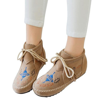 Outlet Appeal beige / 6 HEE GRAND Boots Lace Up Shoes Woman Creepers Snow Boots 3 Colors Size 35-43 XWX6406
