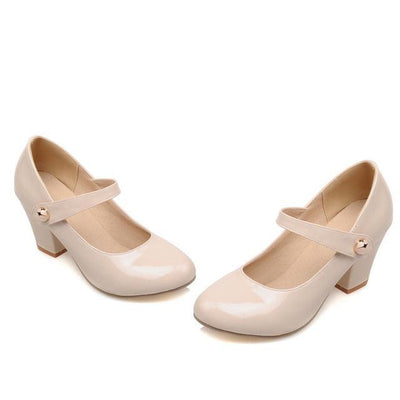 Outlet Appeal Beige / 6 Mary Janes Thick High Heel Round Toe Pumps