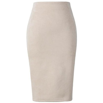 Outlet Appeal Beige / L Women Suede Midi Pencil Skirts Causal High Waist Sexy Stretch Ladies Office Work Wear