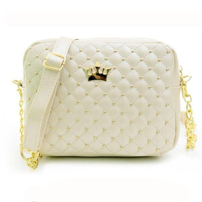Outlet Appeal Beige Women bag Solid Candy Colors Ladies Rivet Chain Leather Crossbody Quilted CrownWomen's Messenger