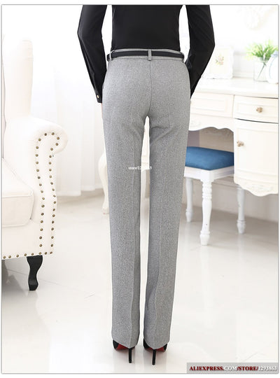 Outlet Appeal Belt Loop Formal Pants for Women Office Lady Style Straight Trousers Business Design S-5XL
