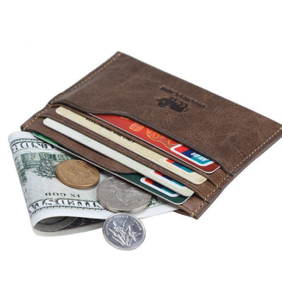 Outlet Appeal BISON DENIM Leather Men Wallets Cowhide Coin Purse Small Credit&id Card Holders