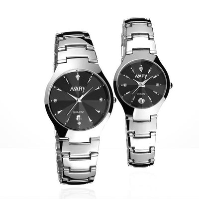 Outlet Appeal Black 1 Pair Luxury Single Calendar Quartz Stainless Steel Date Wrist Watches