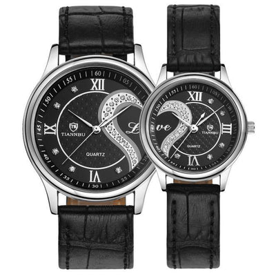 Outlet Appeal Black 1 Pair Tiannbu Ultrathin Leather Romantic Fashionuple Wrist Watches