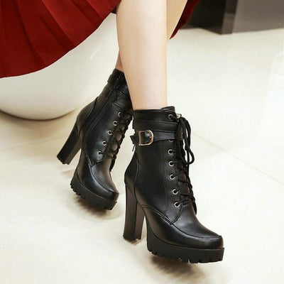 Outlet Appeal Black / 10 Chunky High Heel Platform Lace Up Ankle Boots