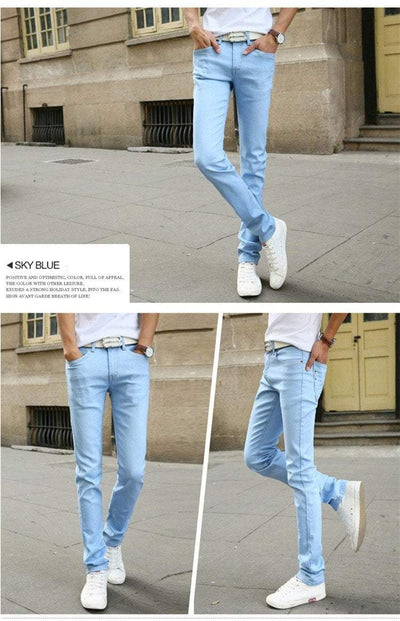 Men's Casual Stretch Slim Jeans Solid Colors