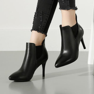 Outlet Appeal black / 4.5 Cow Leather Pointed Toe Thin Heel High Heel Zipper Ankle Boots