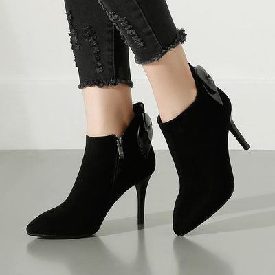Outlet Appeal black / 4.5 Kid Suede Pointed Toe Thin Heel High Heel Ankle Boots
