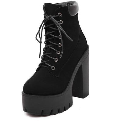 Outlet Appeal black / 4.5 Lace Up Thick Heel Platform Ankle Boots