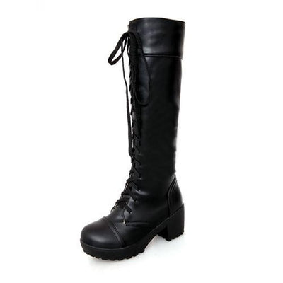 Outlet Appeal black / 4.5 Soft Faux Leather Knee High Lace Up Mid Heel Boots