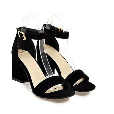 Outlet Appeal Black / 4 Ankle Wrap Chunky High Heel Shoes Sandals Black Beige Red
