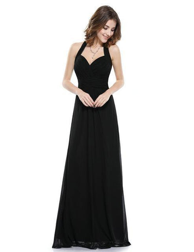 Outlet Appeal Black / 4 / China Prom Dress A Line Ever Pretty Empire Halter Long Maxi Sleeveless Long Prom Dresses