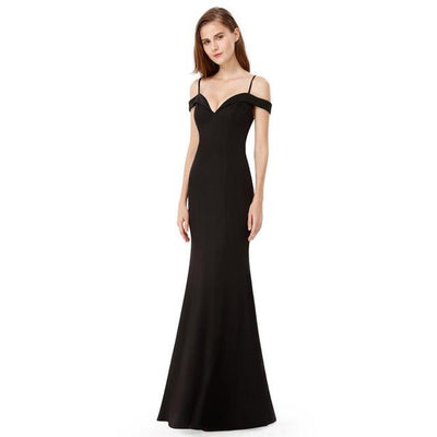 Outlet Appeal Black / 4 / China Prom Dresses V-neck Women's Elegant Off-the-shoulder Sleeveless Long Party Dresses Ever Pretty