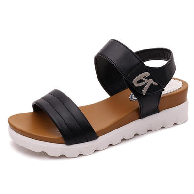 Outlet Appeal Black / 4 Comfortable Faux Aged Leather Flat Gladiator Sandals
