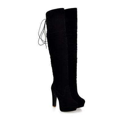 Outlet Appeal Black / 4 ENMAYER Women Boots Over-the-Knee boots for women Flock Tassel ladies Long Boots Round Toe