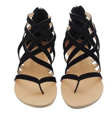 Outlet Appeal black / 4 Flats Sandals European Rome Gladiator Style