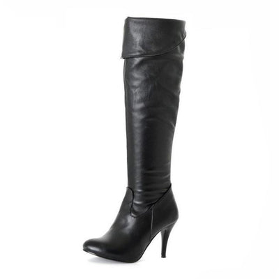 Outlet Appeal black / 4 High Heel Knee High Boots Fashion Snow Long Boot Warm Winter Brand Footwear Heels Shoes