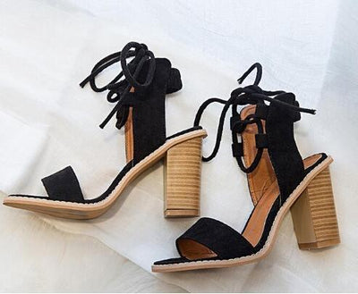 Outlet Appeal Black / 4 Open Toe Lace up Thick High Heel Sandals