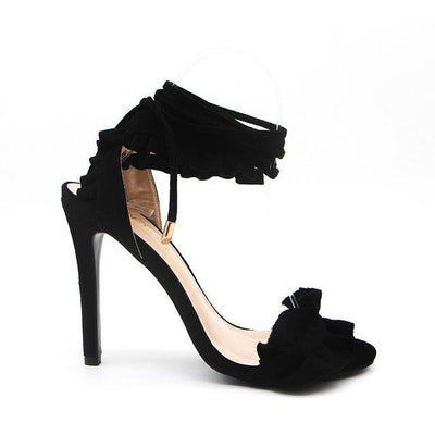 Outlet Appeal Black / 5.5 / China Cross Tied Ruffled Lace-Up Thin High Heel Sandals