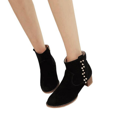 Outlet Appeal black / 5 HEE GRAND Women Ankle Boots Heels Suede Flock Rivet Gladiator Round toe Size 35-43 XWX6235