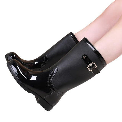 Outlet Appeal black / 6 HEE GRAND Candy Color Rain Slip On Women Mid-Calf Rainboots Round Toe Rubber XWX3071