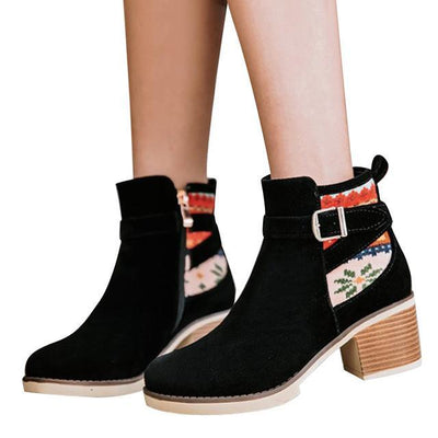 Outlet Appeal black / 6 HEE GRAND Women Ankle Boots Suede High Heels Flock Round toe 3 Colors Size 35-43 XWX6407