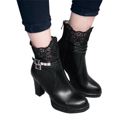 Outlet Appeal black / 6 HEE GRAND Women Boots Lace and Crystal Decoration High Heel with Zip Open size35-43 xwx5967