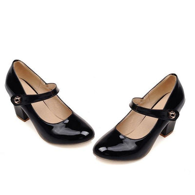 Outlet Appeal Black / 6 Mary Janes Thick High Heel Round Toe Pumps