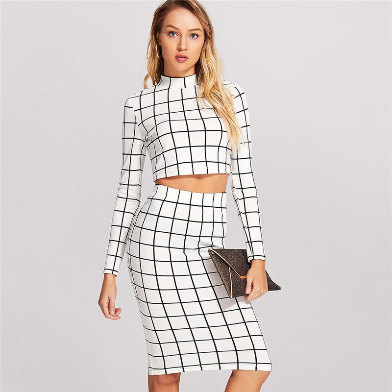 ff58d874118 Outlet Appeal Black and White Grid Plaid Long Sleeve Crop Top And Pencil  Skirt Set