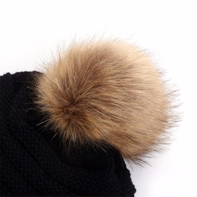 Baggy Warm Knitted Wool Slouchy Beanie with Pom Pom
