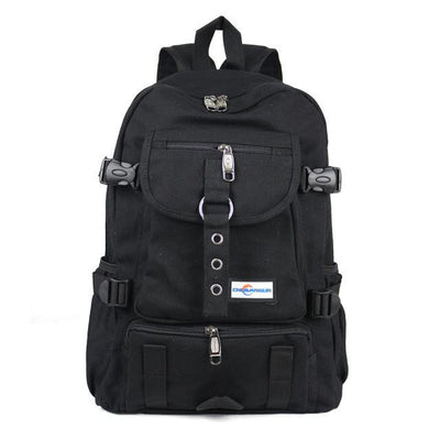 Outlet Appeal Black Durable Canvas Multi-Pocket Multi-Function Backpack